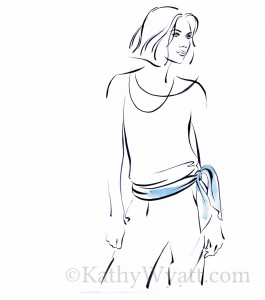 'Tie Belt' 1 of 5 illustrations for Hennes describing different methods of tying a scarf