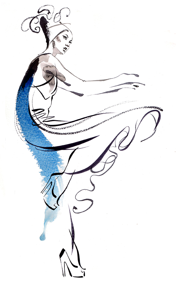 Pen and ink fashion drawing by Kathy Wyatt where 'Fashion meets Dance'
