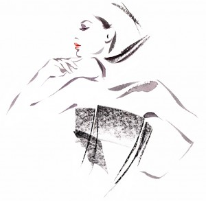 FINANCIAL TIMES 'How To Spend It' Magazine - a black and white fashion illustration of 'Wearable Sculpture' jewellery