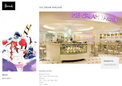 HARRODS -'Ice Cream Parlour' website