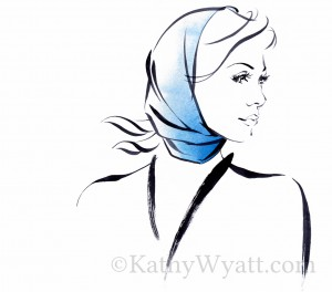 Kathy Wyatt for HENNES scarves describing different glamorous methods of tying style