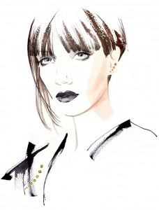 Black and White Fashion style illustration -with photographic elements for article on 'the expression of jewellery'.