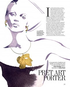 FINANCIAL TIMES 'How To Spend It' Magazine - a black and white fashion illustration of 'Wearable Sculpture 'jewellery