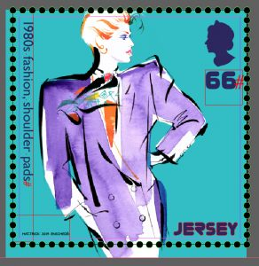 illustration by Kathy Wyatt of 1980's fashion trends for Jersey Stamps 'Retro Stamp' Collectable series