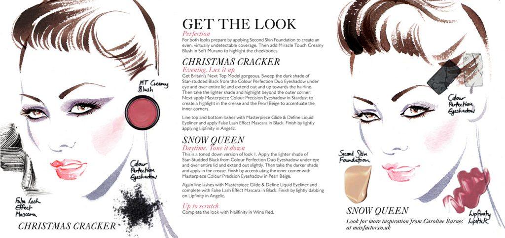 Illustration Beauty MaxFactor Daytoevening Glamour Cosmetics Makeup Tutorial