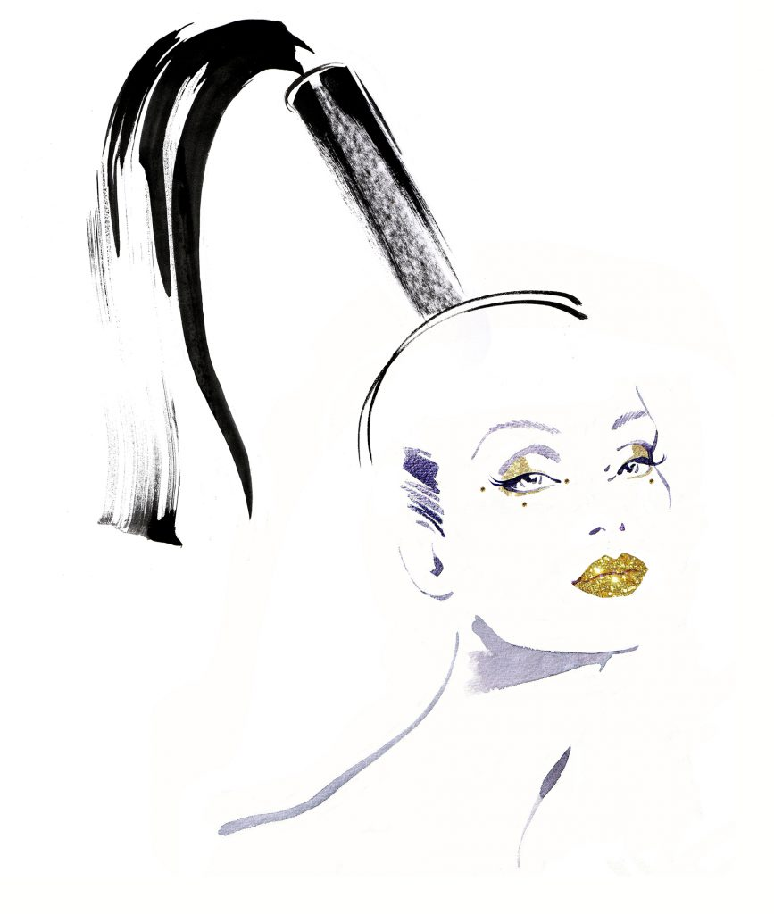 Illustration Beauty Catwalk Cosmetics Diamonte Luxury Glamour Model