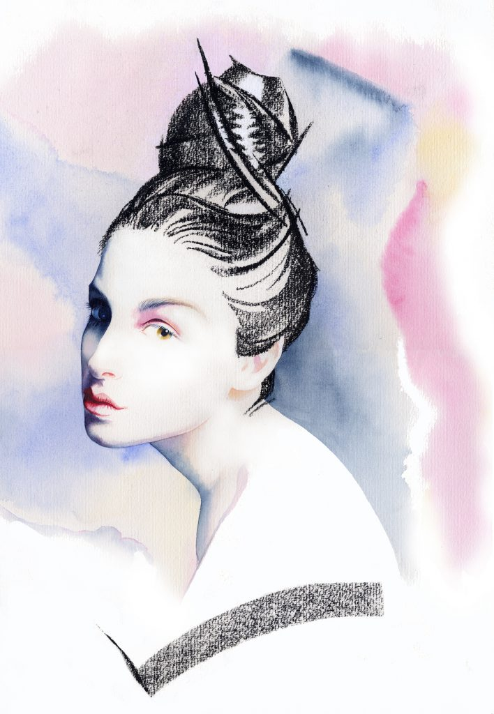 Illustration Beauty Charoal Highcontrast Wartercolour