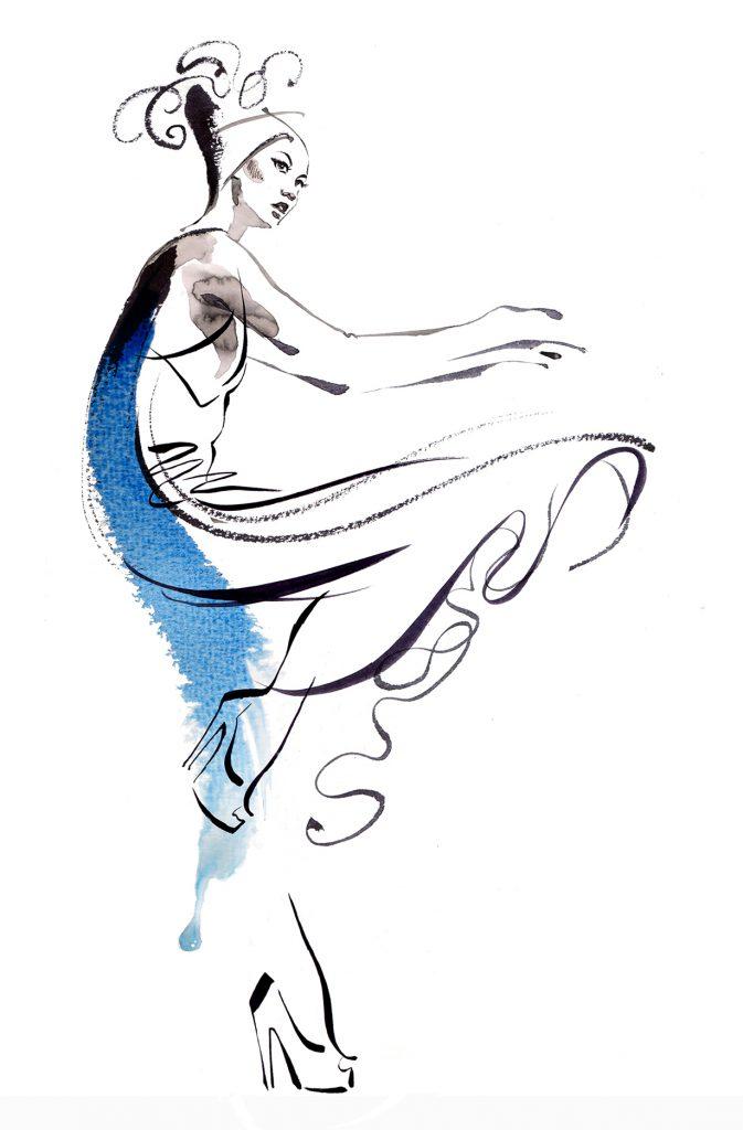 Illustration Fashion&Beauty FashionmeetsDance Brushstrokes Movement Watercolour Ink
