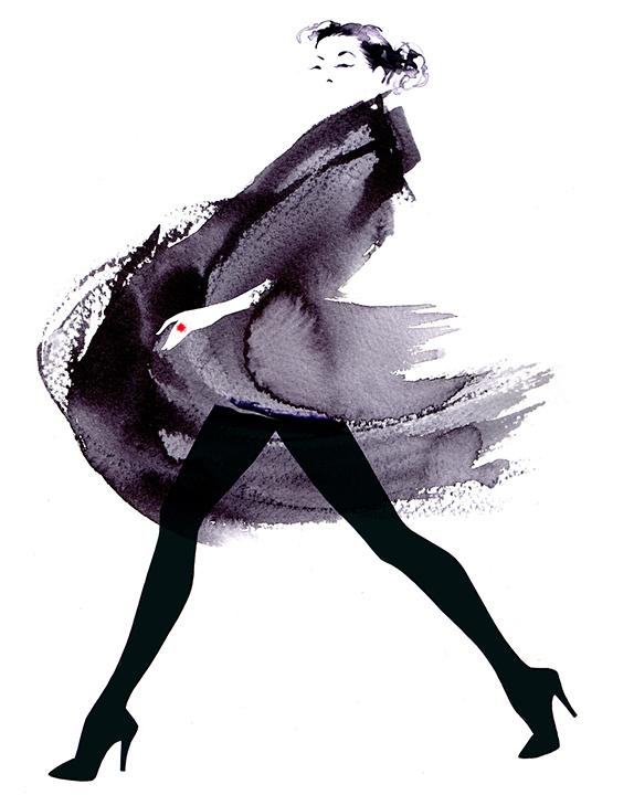 Illustration Fashion&Beauty FinancialTimes HowToSpendIt Couture Catwalk Ink Mono Blackandwhite Brushstroke