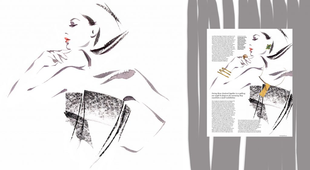 Illustration Fashion&Beauty FinancialTimes 'WearableSculpture' Couture Jewellery Charcoa Ink
