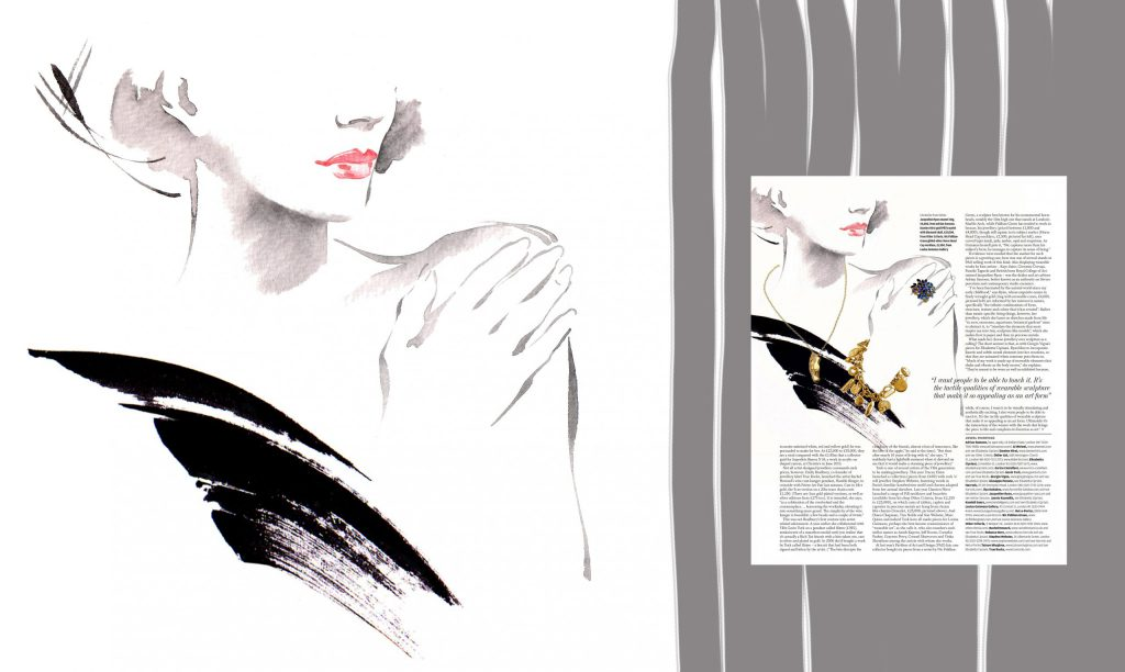 Illustration Fashion&Beauty FinancialTimes 'WearableSculpture'p2 Couture Jewellery Charcoal Ink