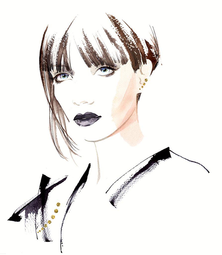 Illustration Fashion&Beauty GoldDiamente Jewellery Watercolour Biker Bikerchic