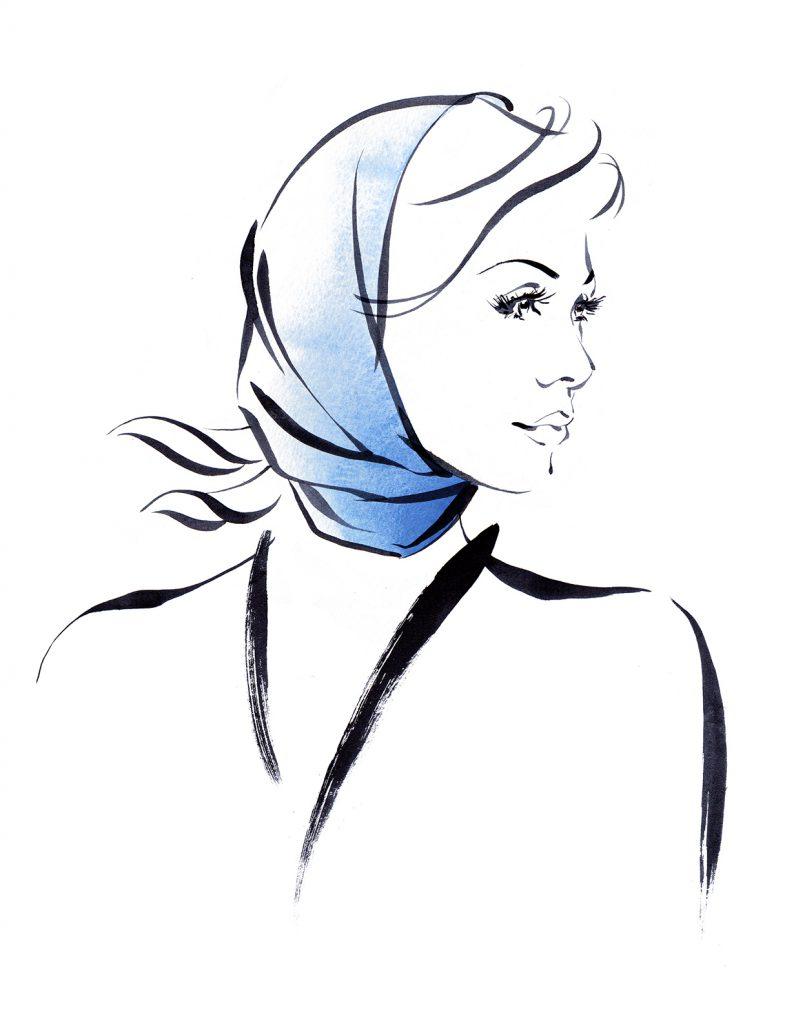 Illustration Fashion&Beauty Hennes Scarf Headscarf Lineandwash