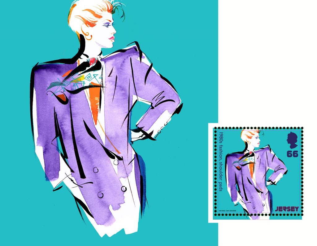 Illustration Fashion&Beauty Jersey Post Stamps 1980's Popculture 1980'sfashion
