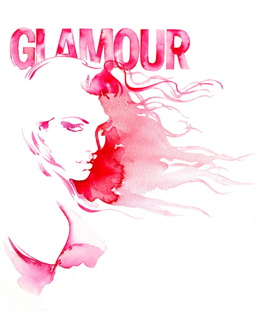 Illustration Hand Lettering Glamour Magazine Watercolour Front Cover