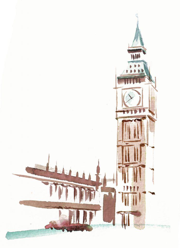 Illustration Architecture Central City Of London Landmarks Big Ben Watercolour