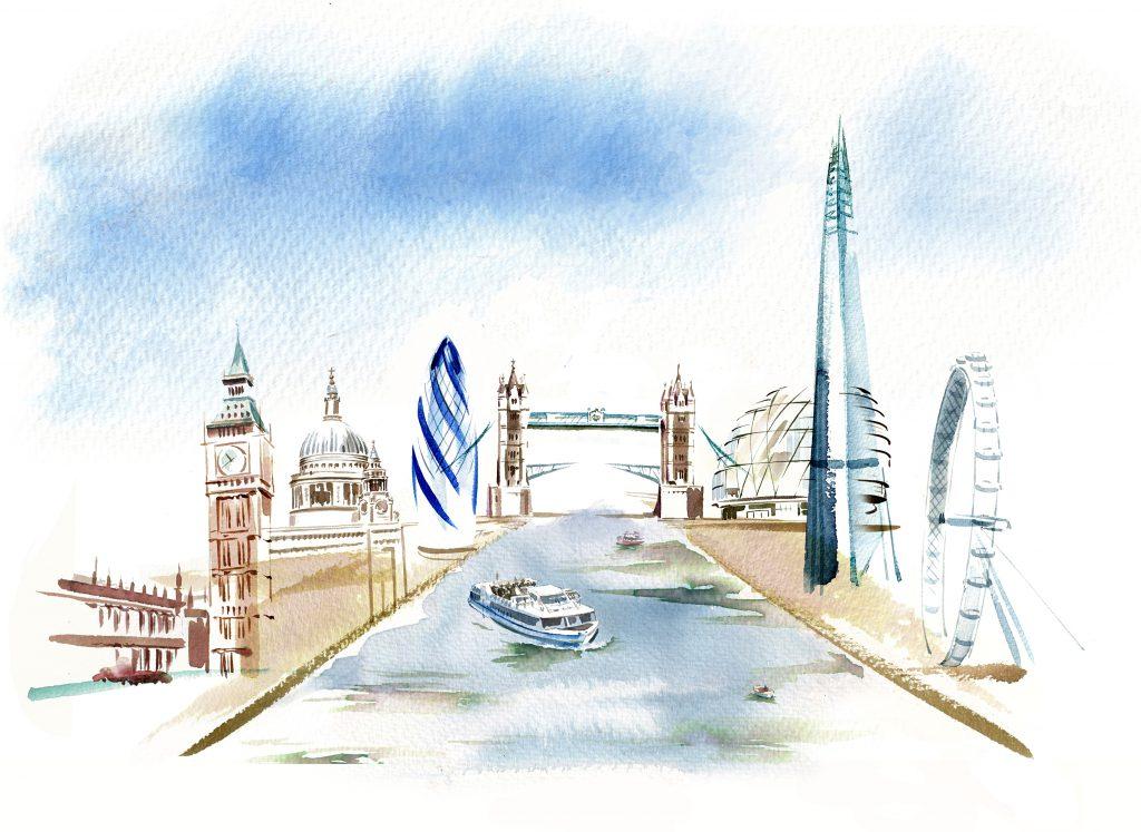 Illustration Architecture Central City Of London Landmarks Watercolour