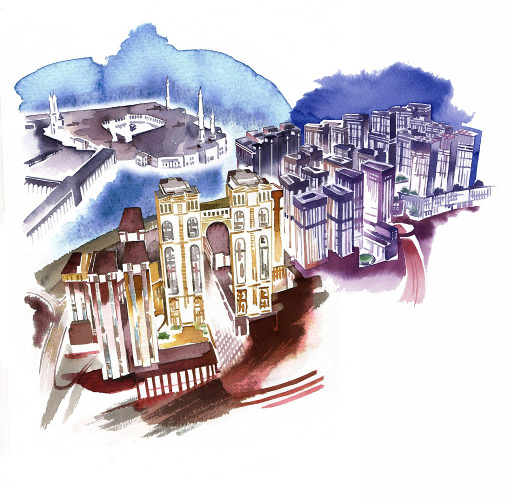 Illustration Architecture City Aerial View Fantasy Watercolour Night Light Extended