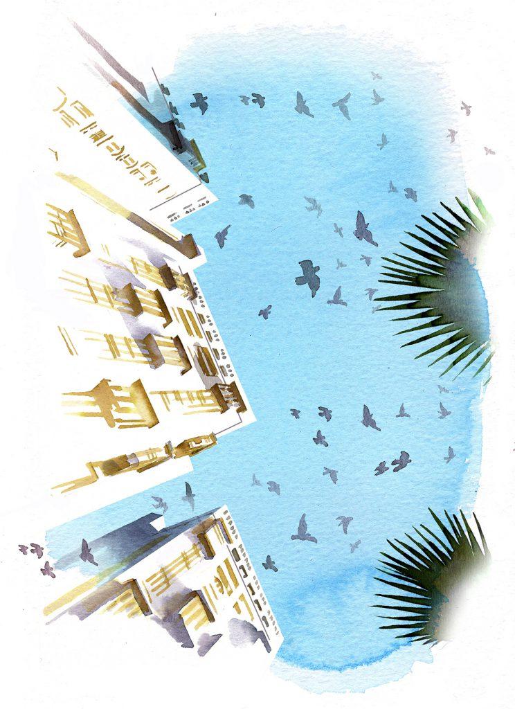 Illustration Architecture High Rise Extreme Perspective Dubai Watercolour