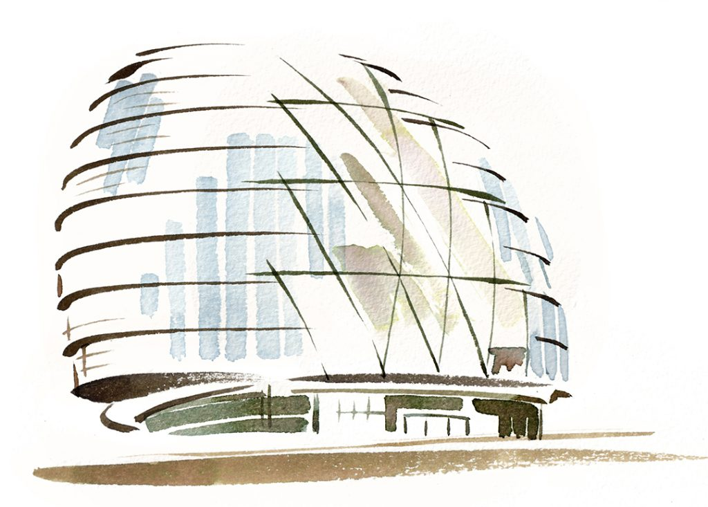 Illustration Architecture London City Hall Landmark Modern Glass