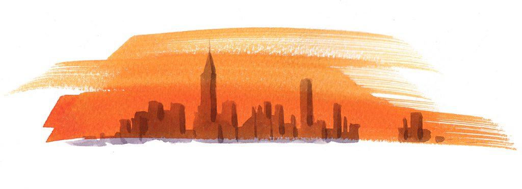 Illustration Architecture Newyork Skyline Sunrise Sunset Highrise