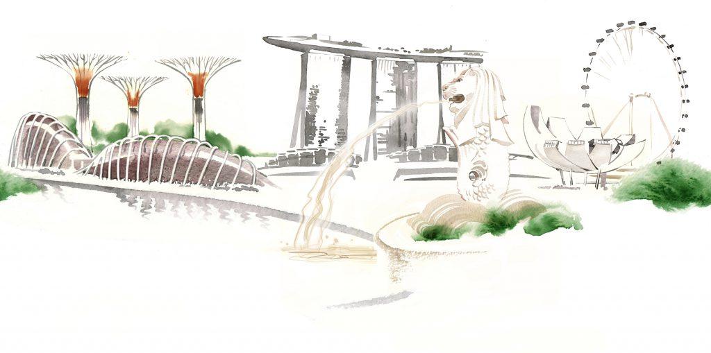 Illustration Architecture Singapore Landmarks Limited Palette Watercolour