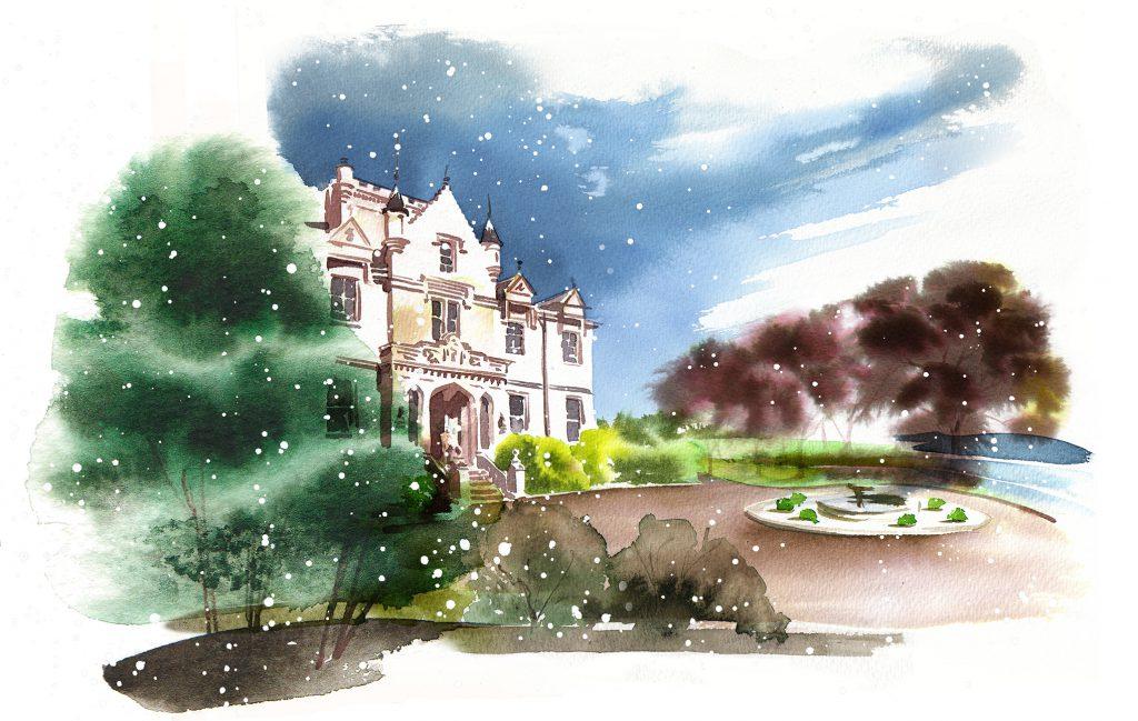 Illustration Architecture Stately Home Gardens Formal Manor Mansion Estate