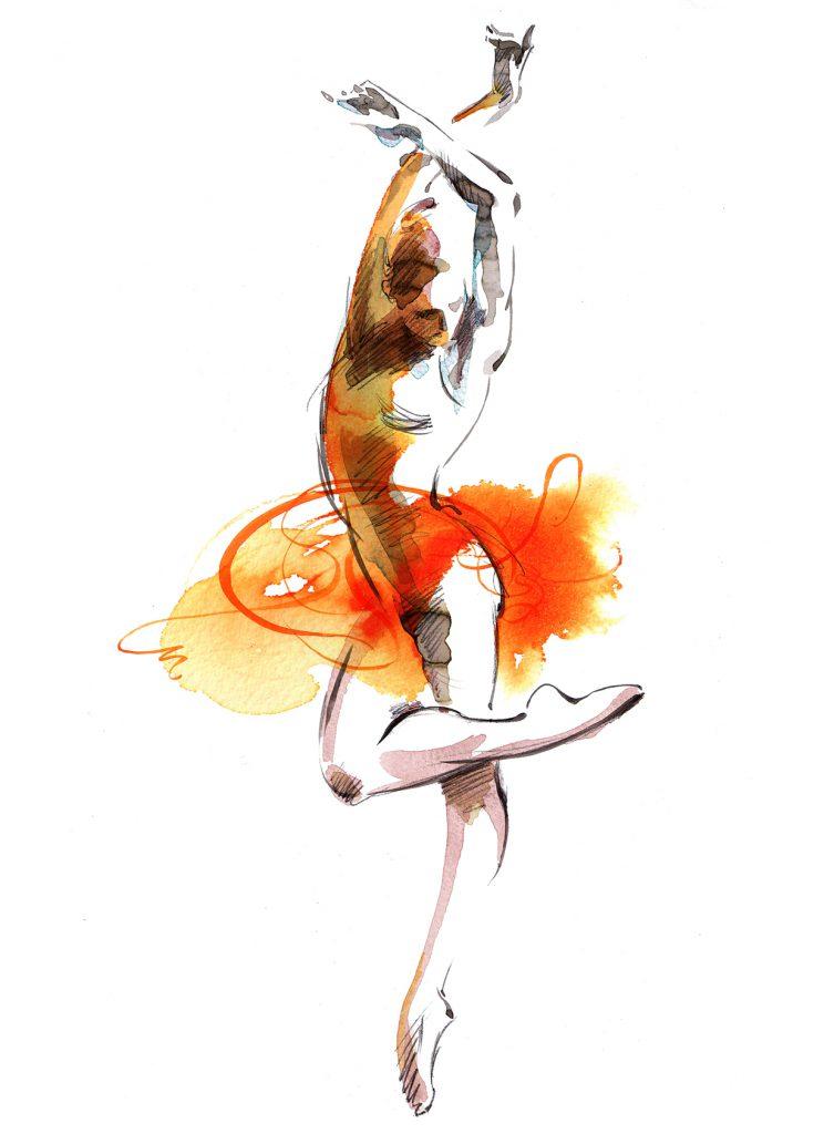 Illustration Figurative Rambert Ballet Dance Dancer Watercolour Movement