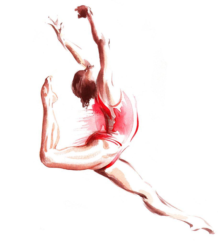 Illustration Figurative Gymnastics Olympics Stamp