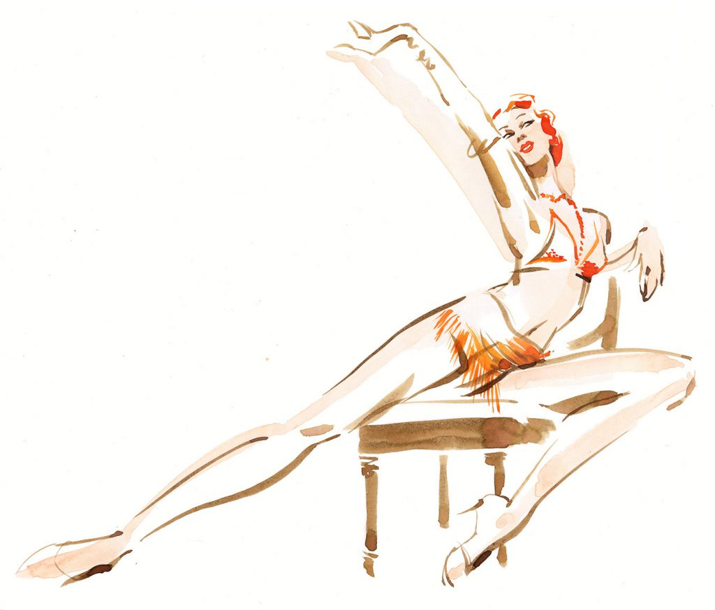 Illustration Figurative Live Drawing Showgirl Speed Drawing Burlesque Ink