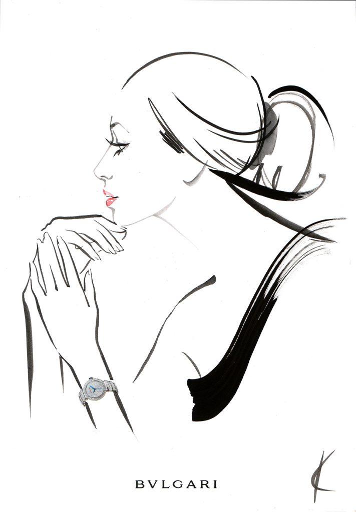 Illustration Live Event Drawing Bulgari StMoritz Brush Ink Guest Portrait 2