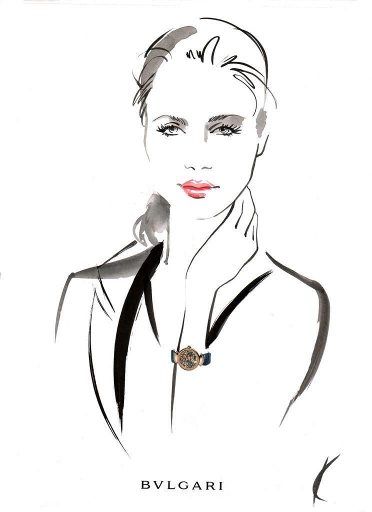Illustration Live Event Drawing Bulgari StMoritz Brush Ink Guest Portrait 3