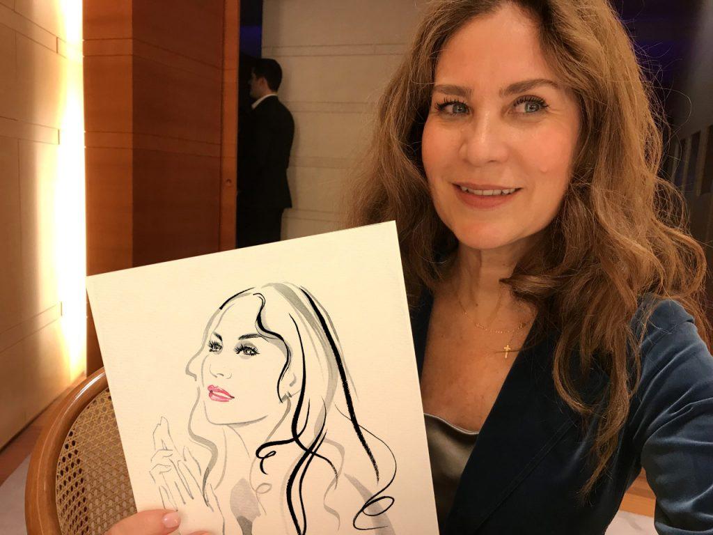 Illustration Live Event Drawing Bulgari Zurich Brush Ink Guest Portrait