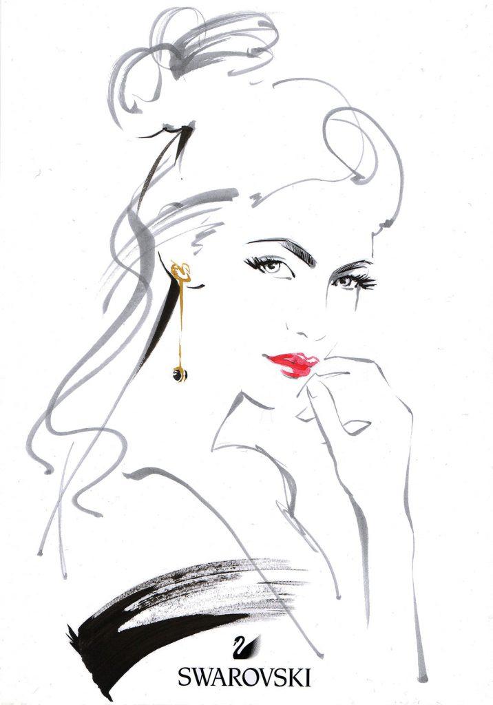 Illustration Live Event Drawing Swarvoski Brush Ink Guest Portrait 2