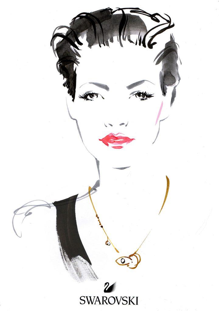 Illustration Live Event Drawing Swarvoski Brush Ink Sketches Portrait 3