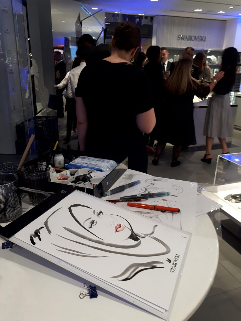 Illustration Live Event Drawing Swarvoski Brush Ink Sketches Portrait 5