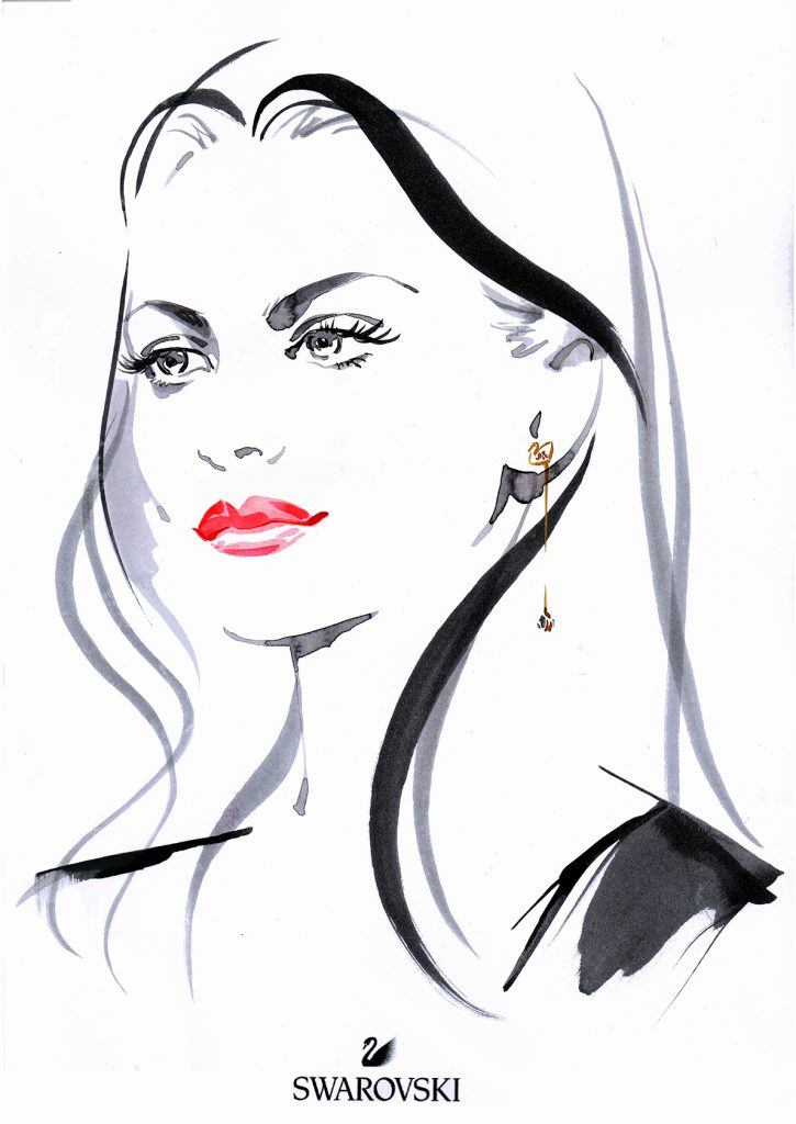 Illustration Live Event Drawing Swarvoski Brush Ink Sketches Portrait Tara