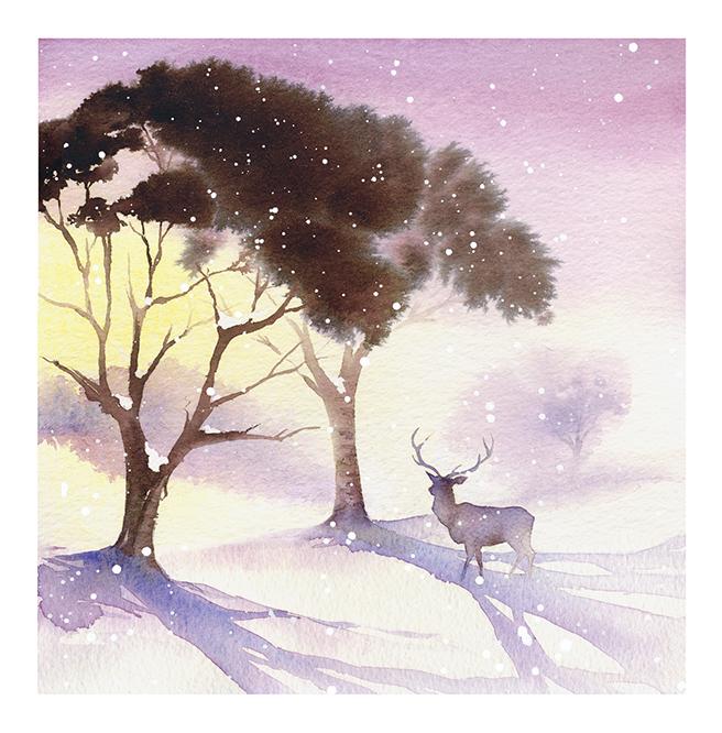 Illustration Scenic Fab Design Deer Park Snow Winter Christmas Xmas Watercolour