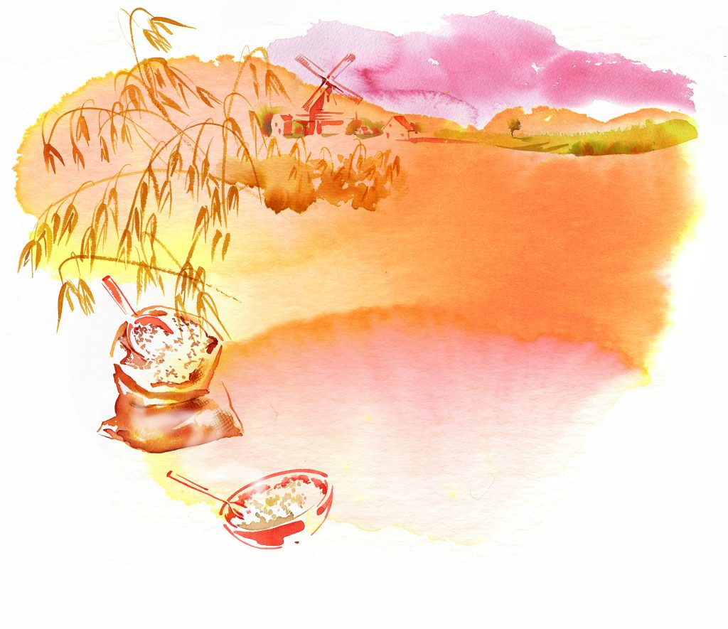Illustration Scenic Hollne Porridge Packaging Germany Whole Food Farm Mill Water Color