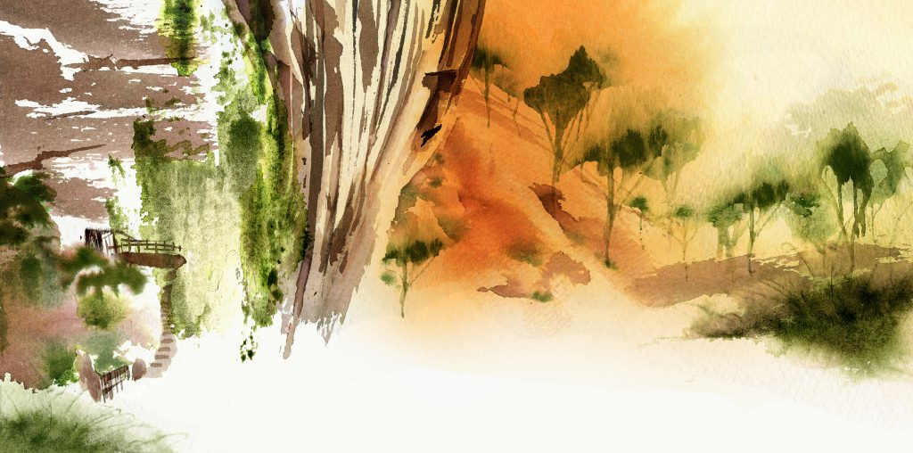 Illustration Scenic Jing Luxury Oolong Tea Packaging China Highlands Watercolour