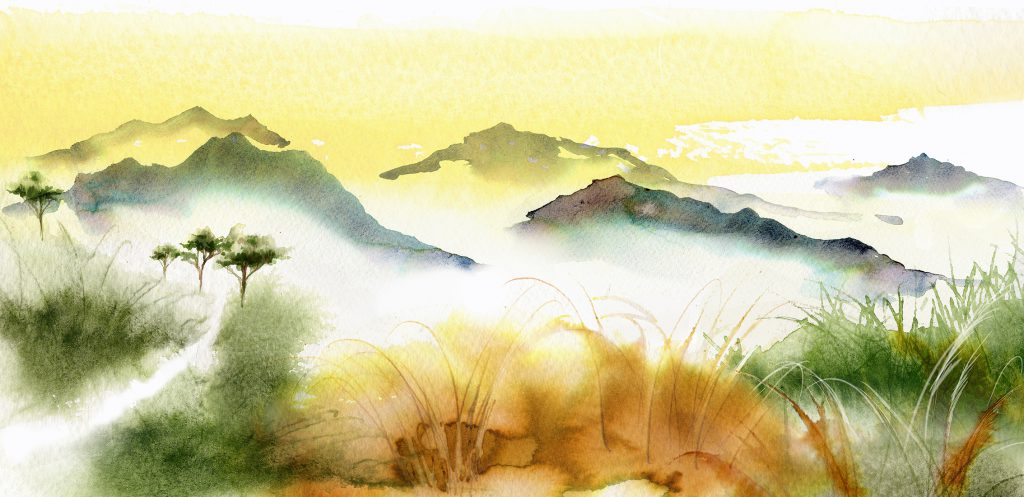 Illustration Scenic Jing Luxury Rare Tea Packaging China Highlands Watercolour
