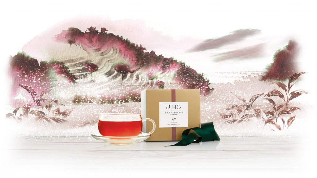 Illustration Scenic Jing Luxury Red Dragon Tea Ad Packaging China Highlands Watercolour