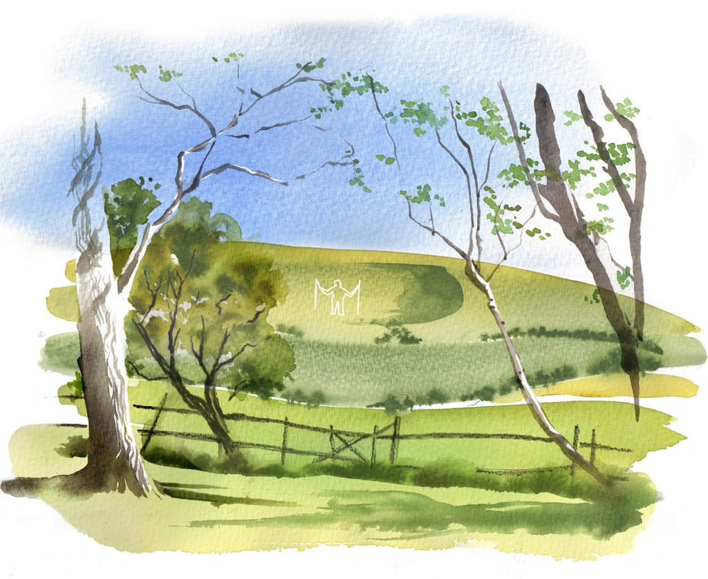 Illustration Scenic The Long Man Sussex Watercolour Watercolor Travel Magazine Editorial