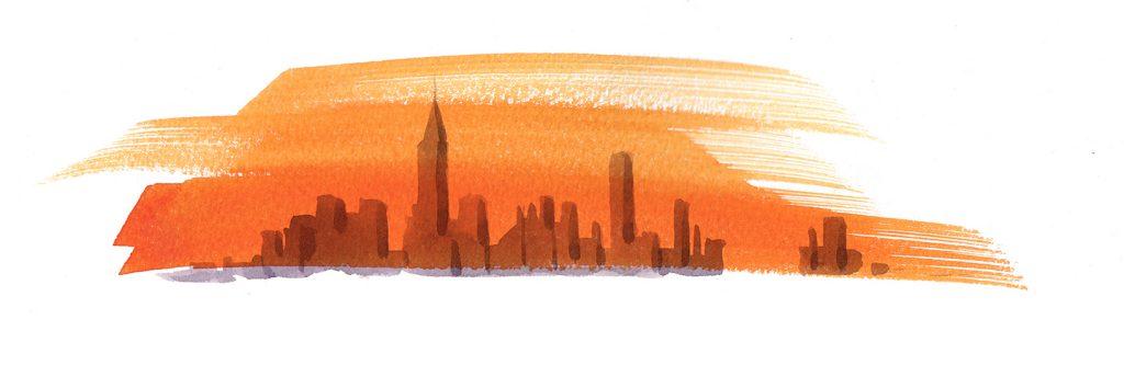 Illustration Scenic Flight Magazine Newyork Skyline City Scape Sunset Sunrise Graphic