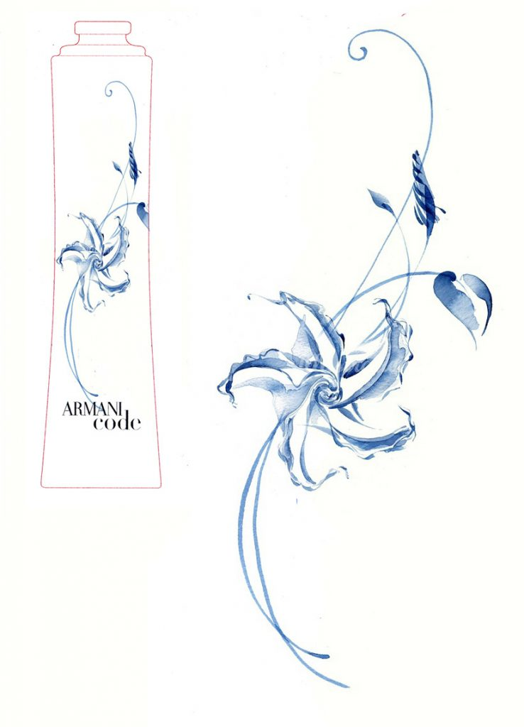 Illustration Flora Armani Code Perfume Moonflower Packaging Watercolour Icon