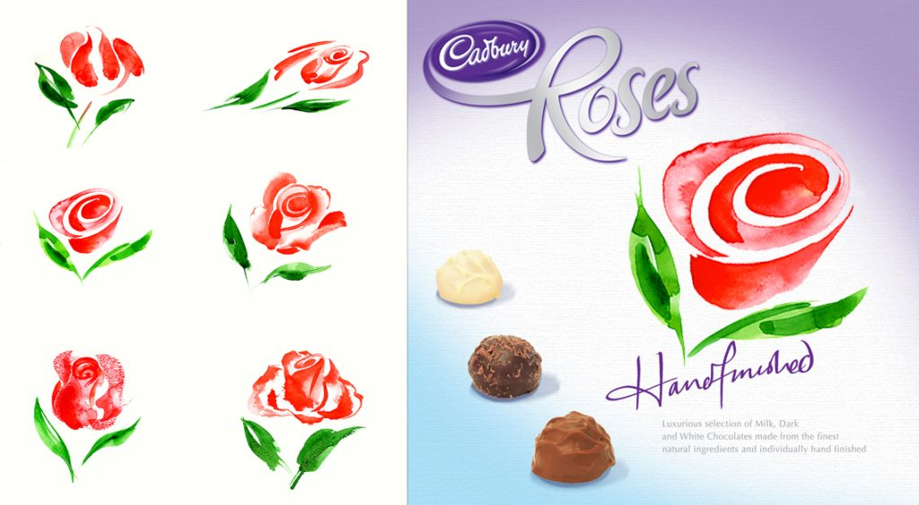 Illustration Flora Roses Chocolates Packaging Flowers Plants Graphic Icon