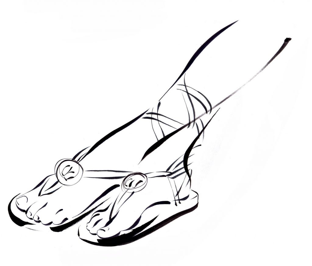 Illustration Line Hotel Icon Maldives Female Feet Sandals Elegance