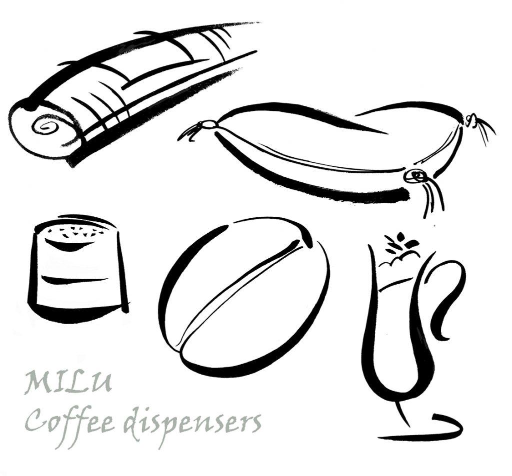 Illustration Line Milo Coffee Dispenser Cafe Bistro Icons Ink