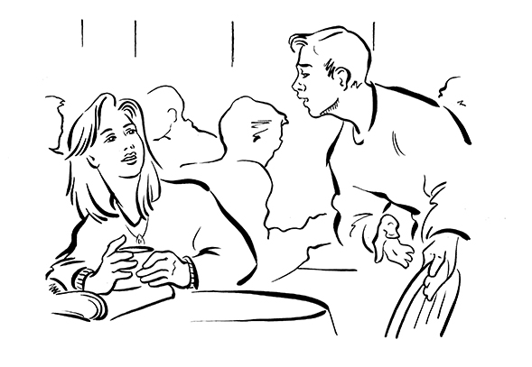 Illustration Line Educational Couple Interaction Cafe Brush And Line