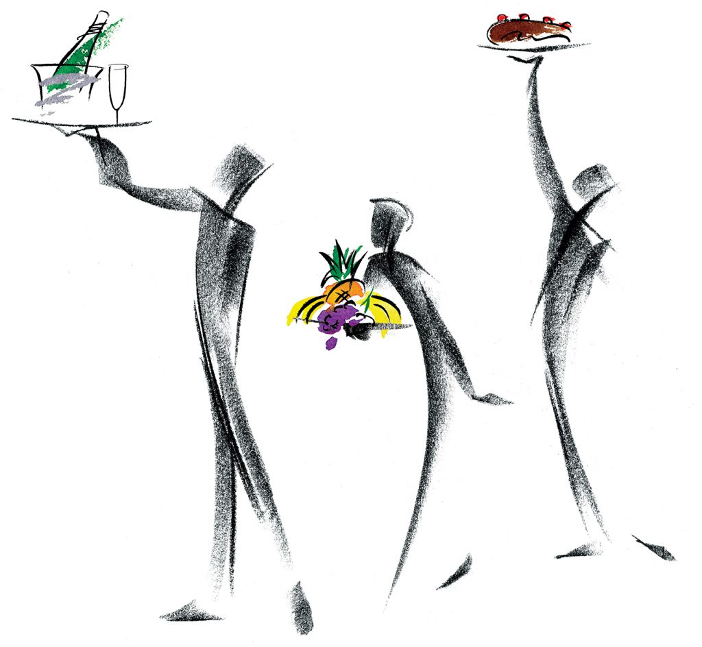 Illustration Line Waiters Abstract Menu Publicity